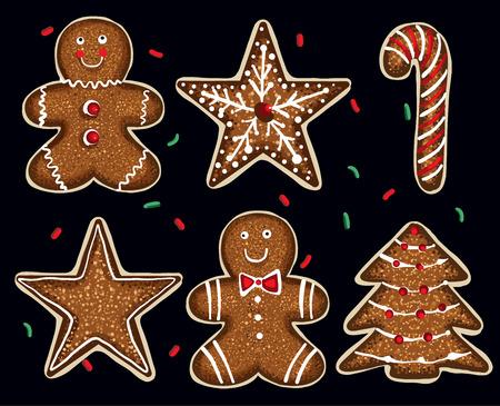 Yummy Christmas cookies set Illustration
