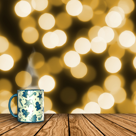 3D render of a mug on a wooden table with  defocussed bokeh background