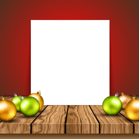 Blank canvas on a wooden table with Christmas baubles and christmas trees on wall