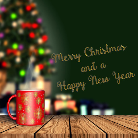 3D render of a mug on a wooden table with  defocussed Christmas tree and presents