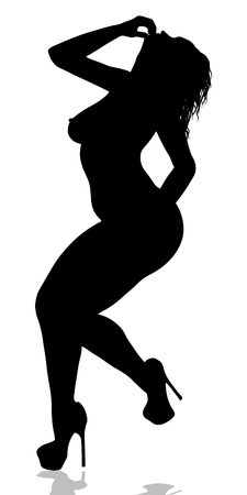 Female wearing only heels silhouette.
