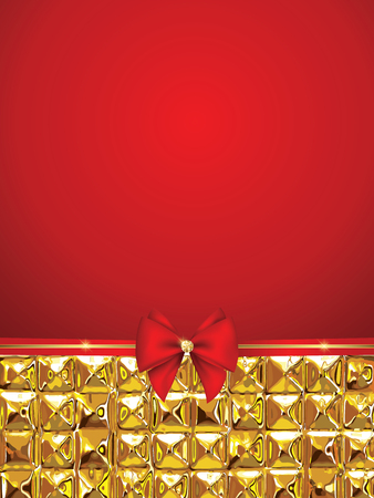 Holiday background with red ribbon and gold Illustration