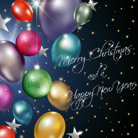 Christmas and new year background with balloons and baubles