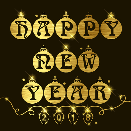 Happy New Year background with gold effect text