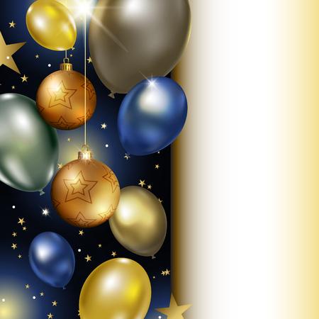 Christmas balloons and balls icon. Illustration