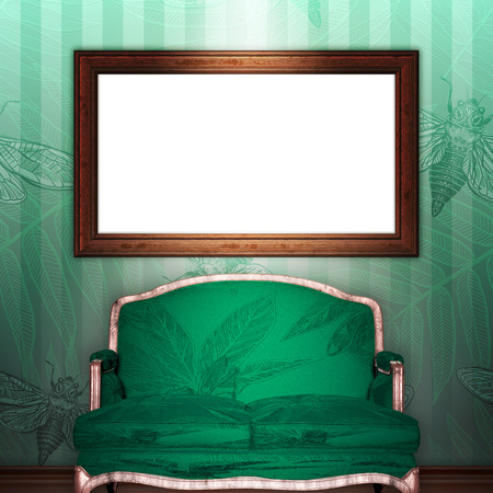 mock up 3d vintage frame hanging on wall