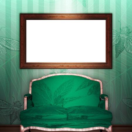 mock up 3d vintage frame hanging on wall