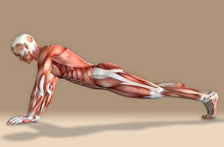 3d illustration of a medical male figure exercising Stock fotó