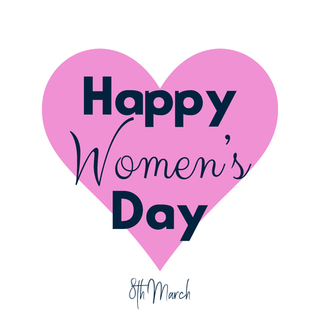Womens day background with  heart design and decorative text