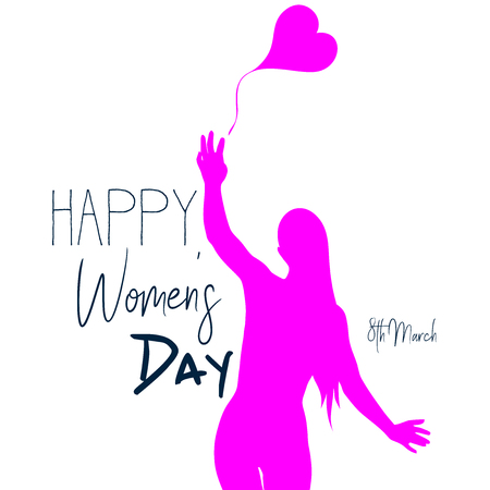 Womens day background with  woman silhouette  and decorative text Illustration
