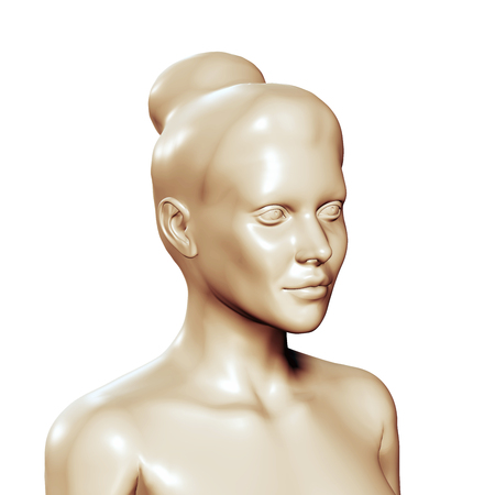 3d woman head statue Stock Photo
