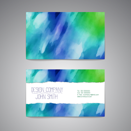 Business card template with an elegant watercolor design