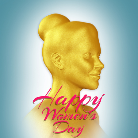 Womens day background with  a 3d golden woman silhouette  and decorative text