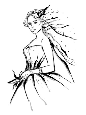 Fashion line art illustration of woman bride with bridal gown