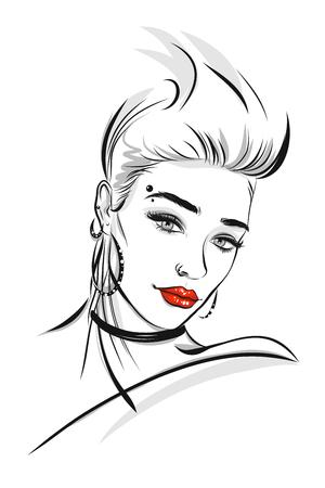 Bella linea arte di un'illustrazione della donna Archivio Fotografico - 97227168