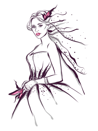 Fashion line art illustration of a woman