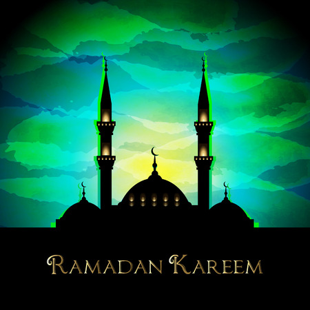 Ramadan Kareem background with mosque silhouette