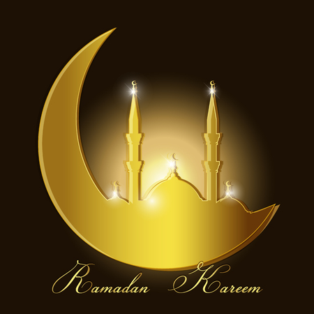 Ramadan Kareem background with mosque silhouette in a crescent moon