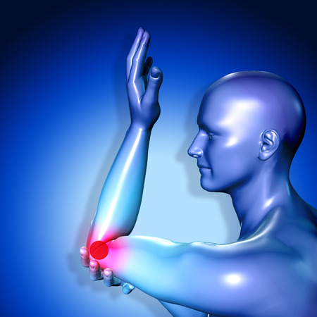 3d medical figure having pain in injured elbow.