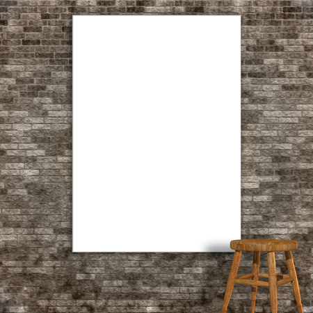 3d render of a blank canvas on a grunge stone wall Stock Photo