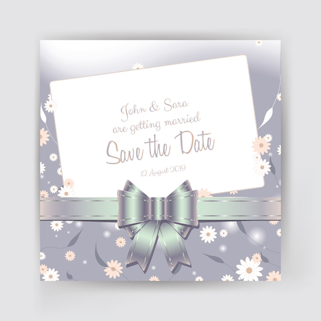 Save the Date invitation with decorative bow and flowers