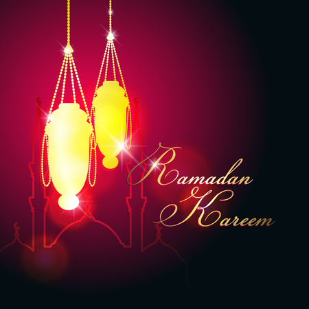 Decorative Ramadan  with hanging lantern and mosque silhouettes Illustration