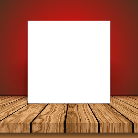 Blank canvas on a wooden table