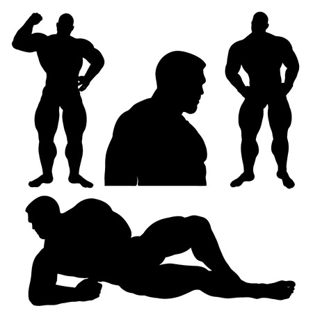 Strong male silhouette set isolated on white