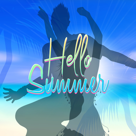 Summer themed background with blurred beach scene and dancing people silhouettes