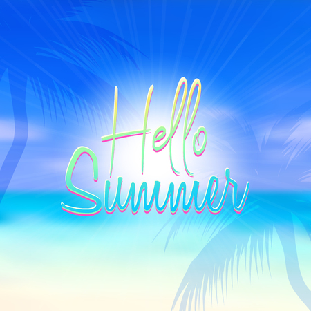 Summer themed background with blurred beach scene Illustration
