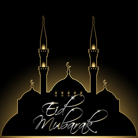 Silver and gold decorative background for Eid Mubarak