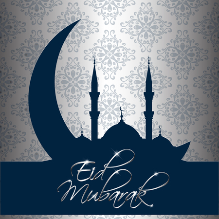 Silver and blue decorative background for Eid Mubarak Illustration