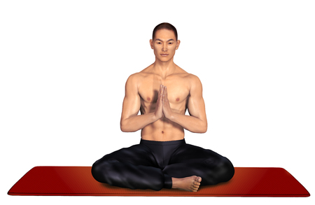 3d illustration of an asian man practicing yoga in the lotus position Stock Photo