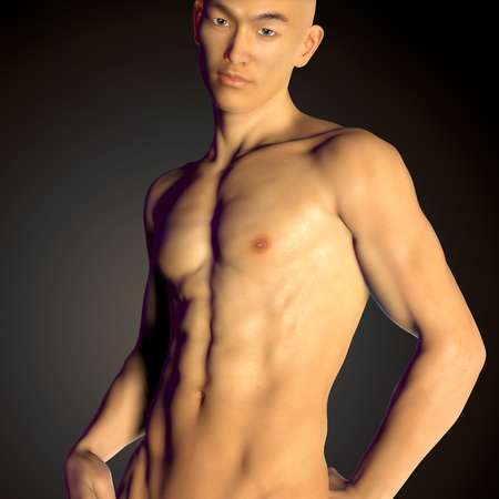 Asian young  man with perfect fitness body