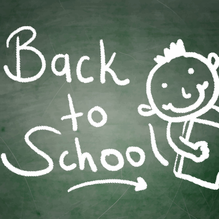 Back to scholl background with a drawing of school kid Illustration
