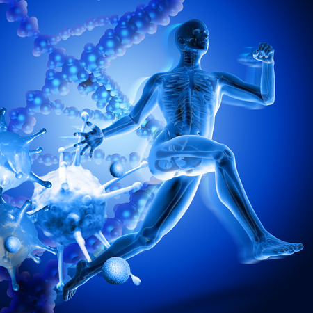 3d medical figure running away from viruses on dna background Stock Photo