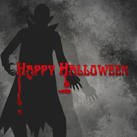 Halloween background with dracula silhouette and bloody text