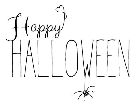Happy halloween handwritten text isolated on white