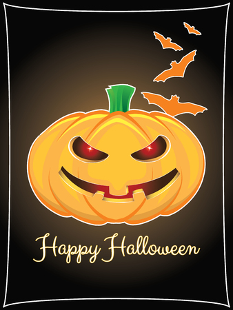 Happy halloween background with pumpkin and hand lettering