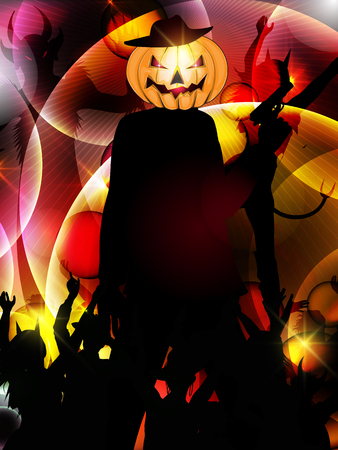 halloween background with silhouette of people Illustration