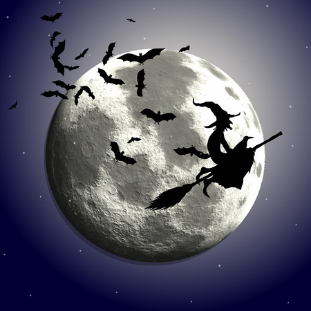 Halloween background with flying witch against a moonlit sky Illustration