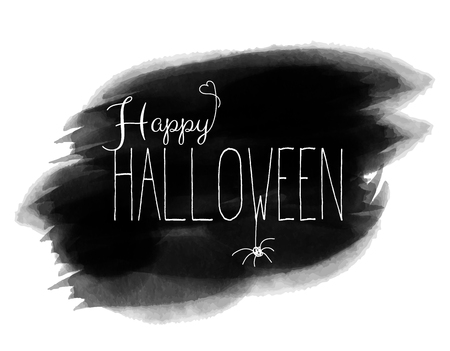 Happy halloween handwritten text on brushtroke design