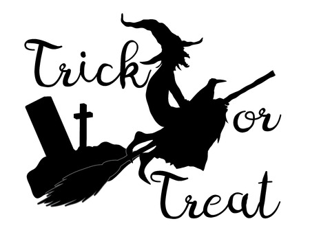 Trick or treat halloween background with flying witc Illustration