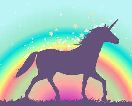 Silhouette of a unicorn on a rainbow background