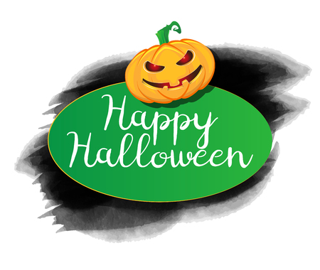 Halloween background with a grunge typography design and pumpkin Illustration