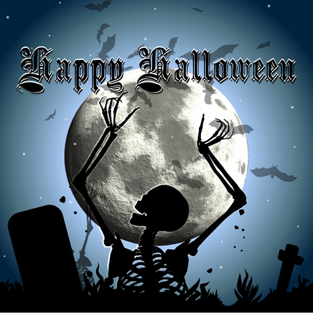 Halloween background with skeleton rising out from the ground against a moonlit sky Illustration