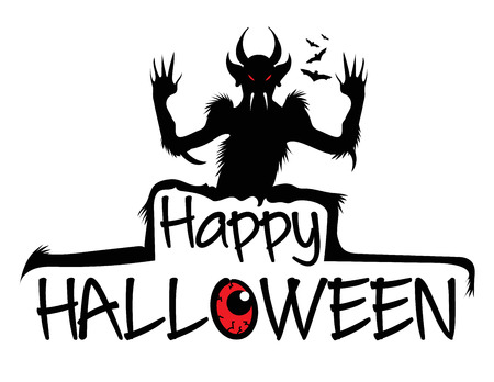 Decorative happy halloween text with scary monster silhouette