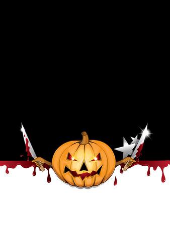 Halloween background with spooky pumpkin