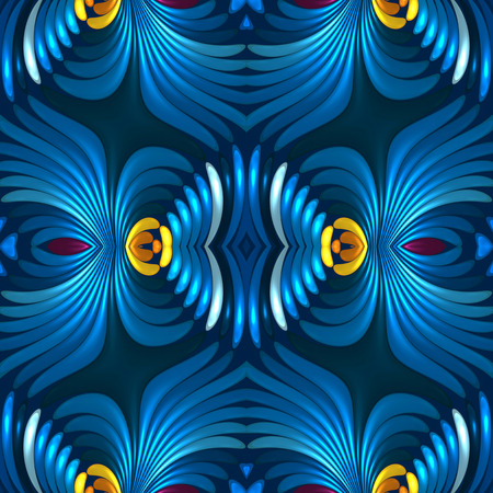 Seamless blue 3d floral abstract background Stock Photo