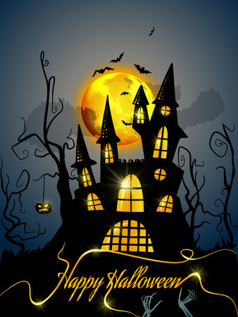 Happy Halloween background with spooky castle Illustration